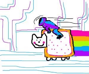 Guy on Tron bike racing Nyan Cat