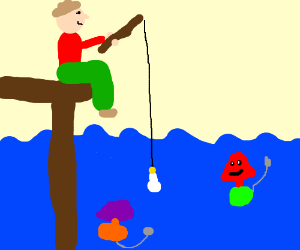 Fishing for lamps, with a lightbulb