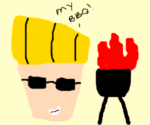 johnny bravo's BBQ is on fire