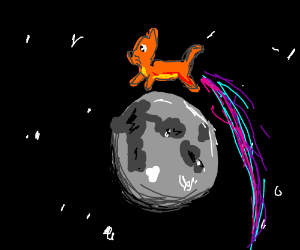 A cat jumping over the moon