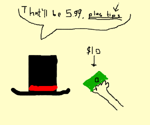 Person tipping a top hat