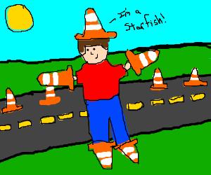 Man + Traffic Cones = Starfish