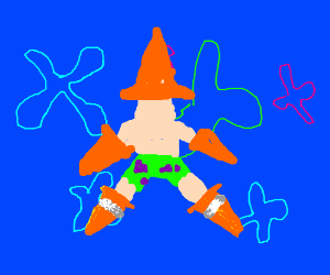 Wearing cones on limbs and head is Starfishing