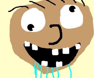 man with 7 teeth drools suspiciously