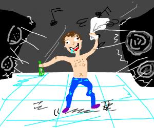 A drunk man dancing.