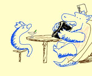 Dratini drinks a martini, Blastoise eats atire