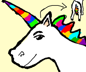 White unicorn with a rainbow mane and tail.