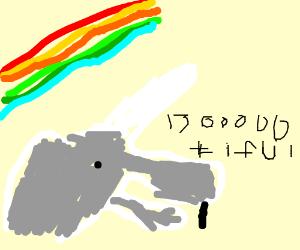 Boootiful Unicorn with buck teeth and rainbow