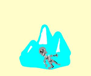 Skeleton (not undertale) encased in ice