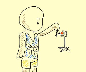 Giant basketball player holds a small man