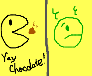 Pacman eats chocolate (Its not chocolate)