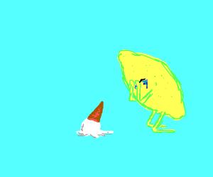 Lemon crying over dropped ice cream