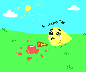 a lemon cry's about dropped icecream cone
