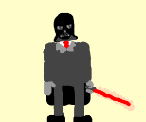 guy in suit holds a red lightsaber