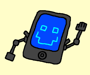 Blue iPad with arms and a face