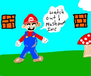 Mario warns us of the incoming mushrooms