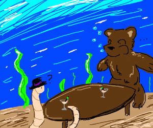 Mexican worm having martinis with a sea bear