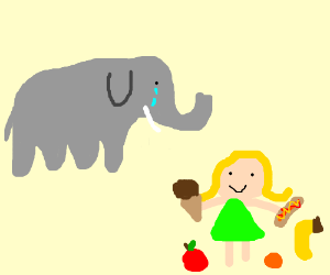 Crying elephant watching a girl with food