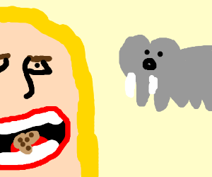 Shakira eating dickcookie in front of elephant