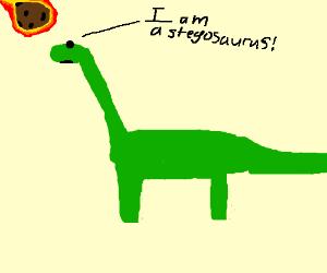Diplodocus gets hit by flaming meteor :(