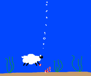 A sheep drinking coke  underwater