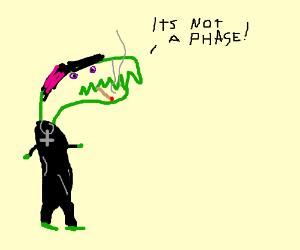 Emo crocodile smoking saying its not a phase
