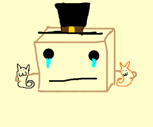A crying box with a top hat hugging two cats
