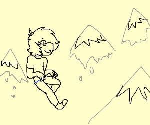 boy with floating mountain