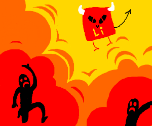 Lithium devil floating above people in fire