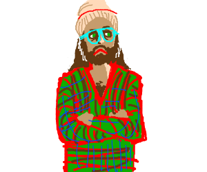 tired hipster wearing plaid