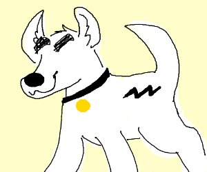 Bolt (the dog) but with no eyes