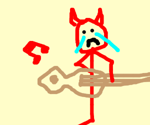 devil may cry plays a sad tune on guitar