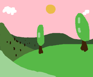 A nice sunny day in the valley, pink sky