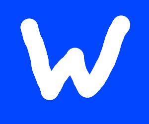 'W' on blue