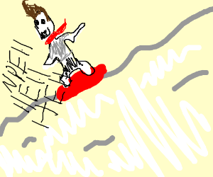 Papyrus with jimmy neutron hair snow-boarding