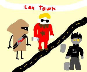 WV, Dave, and Karkat building Can Town
