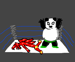 Panda wins in a wrestling match against Dragon