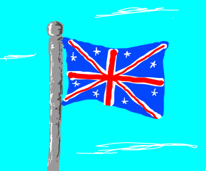 britian's flag with white stars on the blue