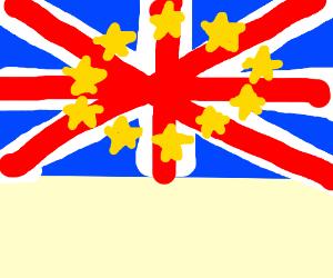 Union Jack mixed with EU flag