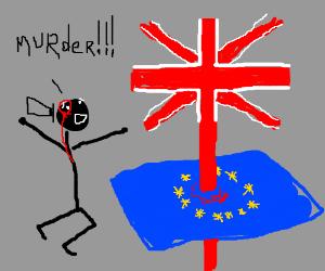 The UK flag over the European Union flag.