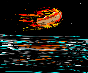 Burning hot dog flying over water