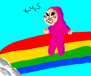 a pink man is living above a rainbow
