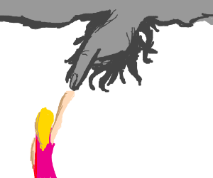 Girl trusts scary sky hand
