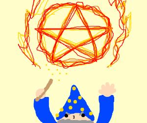 wizard conjures up flaming pentagram