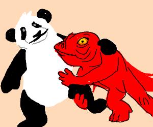 Emaciated red lizard dies wrestling with panda