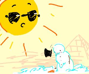 Cool Sun destroying snowman in Egypt