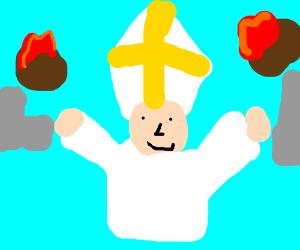 Pope smile as flaming meatballs kills millions