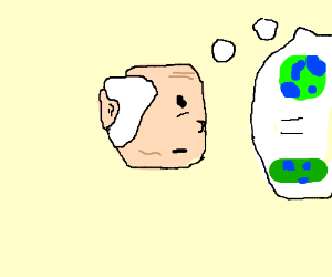 Old time man thinks earth is flat
