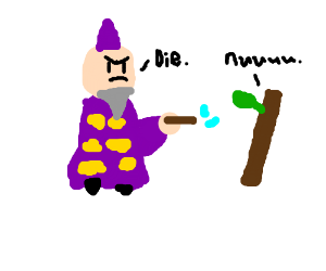 wizard confronts a stick