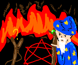 Stickman questions wizard summoning satan ;)